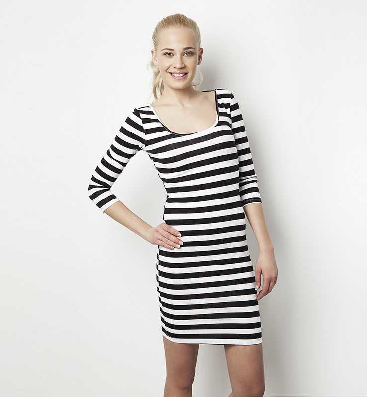 Vestido de rayas blanco negro